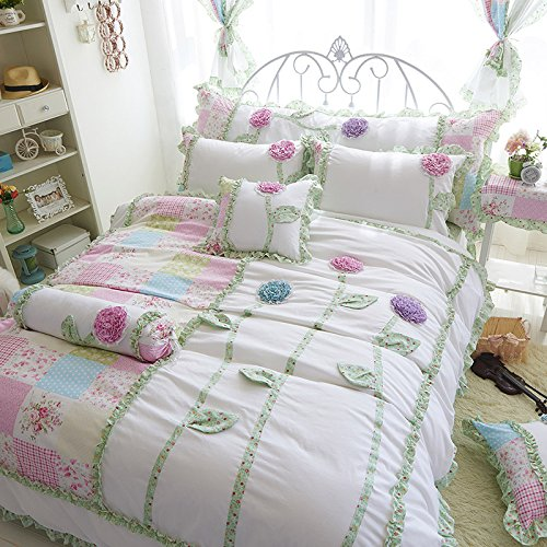MeMoreCool New Arrival! High-grade Spring and Summer Dimensional Flower 5 Pieces Bedding Set Sweet Design Girly Quilt Covers Set 100% Cotton Lace Bed Skirt Girls Princess Bedding Set Twin Size by MeMoreCool