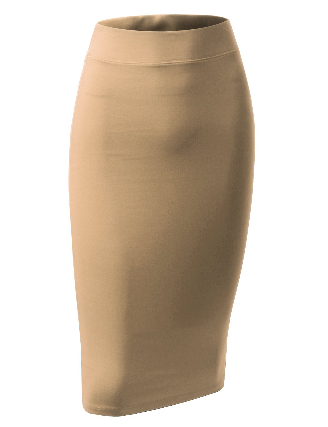 ALL FOR YOU Women's Slim Fit Ponte Pencil Skirt Khaki Small