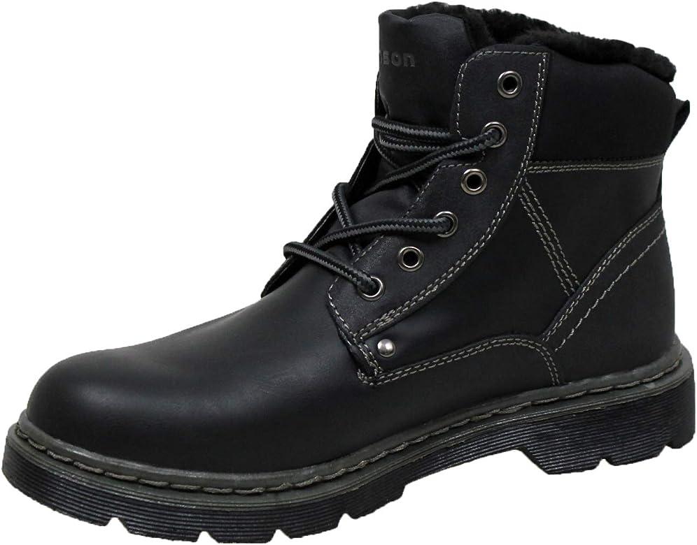 Hanson Stivali uomo nero scarpe stivaletti con pelliccia