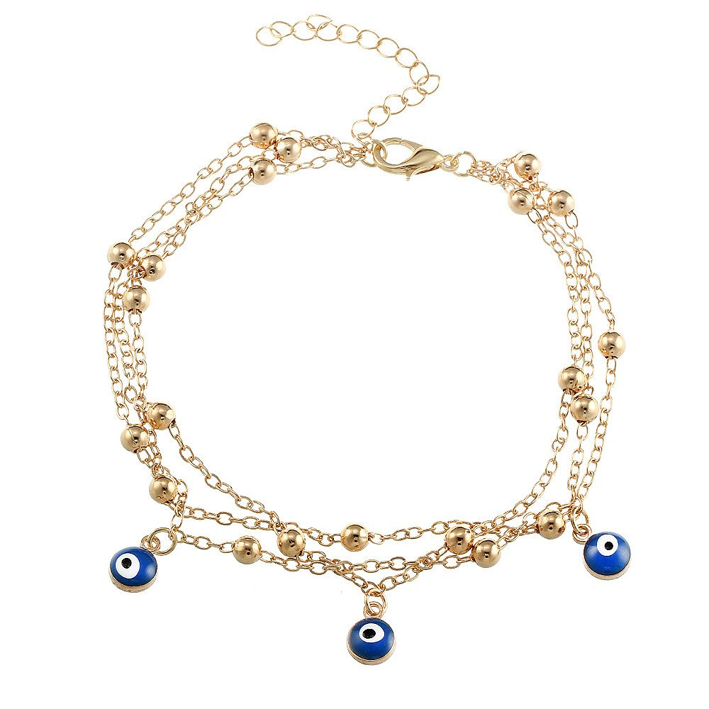 Fashion Bohemian Multilayer Blue Evil Eye Pendant Beads Beach Foot Chain Anklet MINGHUA