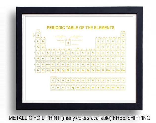 Amazon Periodic Table Foil Print 28 Colors 4 Sizes Handmade