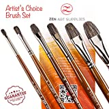 #9: Professional Artist Filbert Brushes for Oil & Heavy-body Acrylics - Long-lasting Natural Badger & Synthetic Blend - Lacquered Birchwood Long Handles - 6-pcs Set, Artist's Choice Collection by ZenArt
