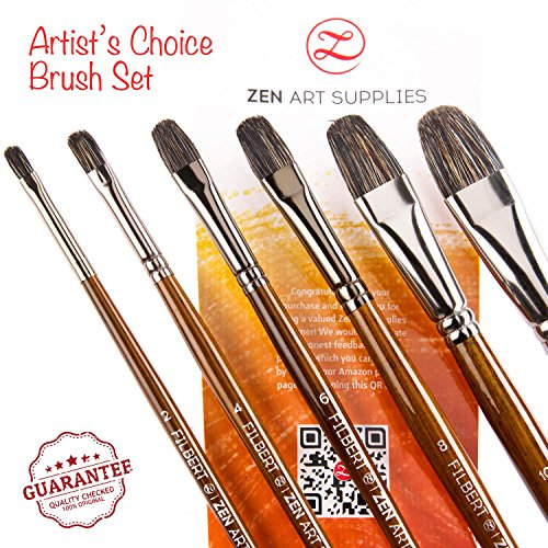 Professional Artist Filbert Brushes for Oil & Heavy-body Acrylics - Long-lasting Natural Badger & Synthetic Blend - Lacquered Birchwood Long Handles - 6-pcs Set, Artist's Choice Collection by (Badger Blender)