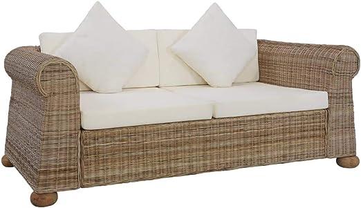Tidyard Sofá de 2 plazas con Cojines Sofá para Salón Sala de Estar Jardín Exterior ratán Natural: Amazon.es: Hogar