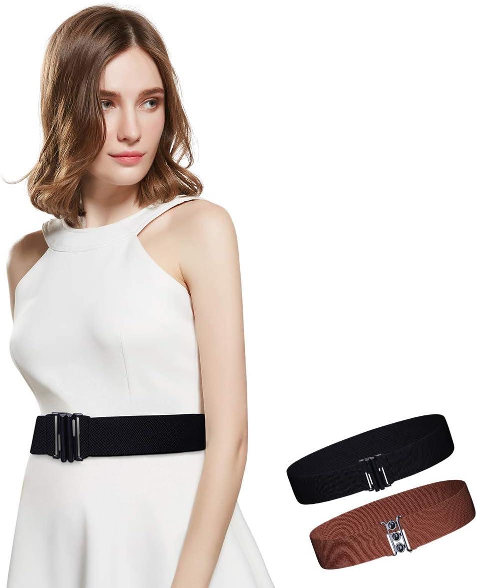 Womens Wide Elastic Waist Belt for Dresses Vintage Waistband Stretchy Cinch Belt(Black vertical buckle//Black ball buckle)