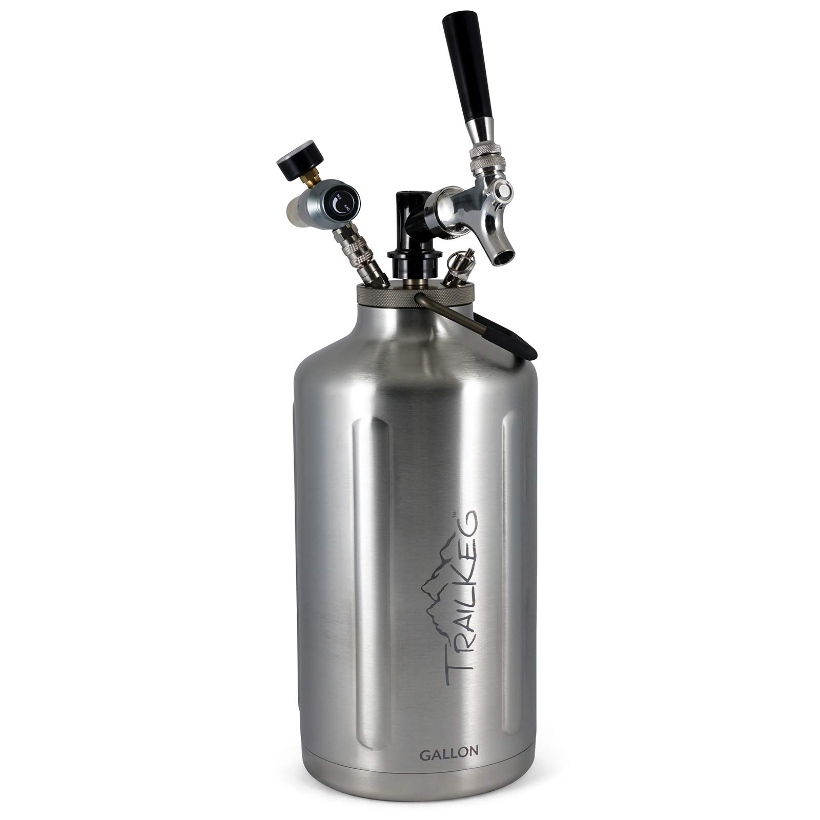 TrailKeg - Gallon Stainless Steel Growler For Beer - Vacuum Insulated Double Wall Design - Chrome Tap And Dual Stage CO2 Regulator - Keeps Drinks Perfectly Cold And Carbonated - Portable And Durable