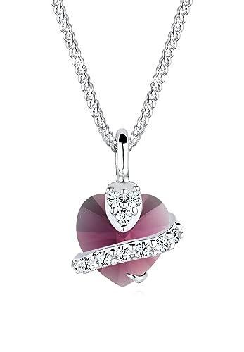 Elli Women's 925 Sterling Silver Xilion Cut Swaroski Crystal Heart Love Pendant Necklace Length of 45 cm I64m8iP