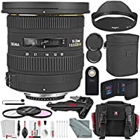 Sigma 10-20mm f/3.5 EX DC HSM Autofocus Zoom Lens For Nikon DSLRs and Deluxe Bundle w/ Remote + Xpix 2-in-1Tripod + Camera Case + Xpix Cleaning Kit + More