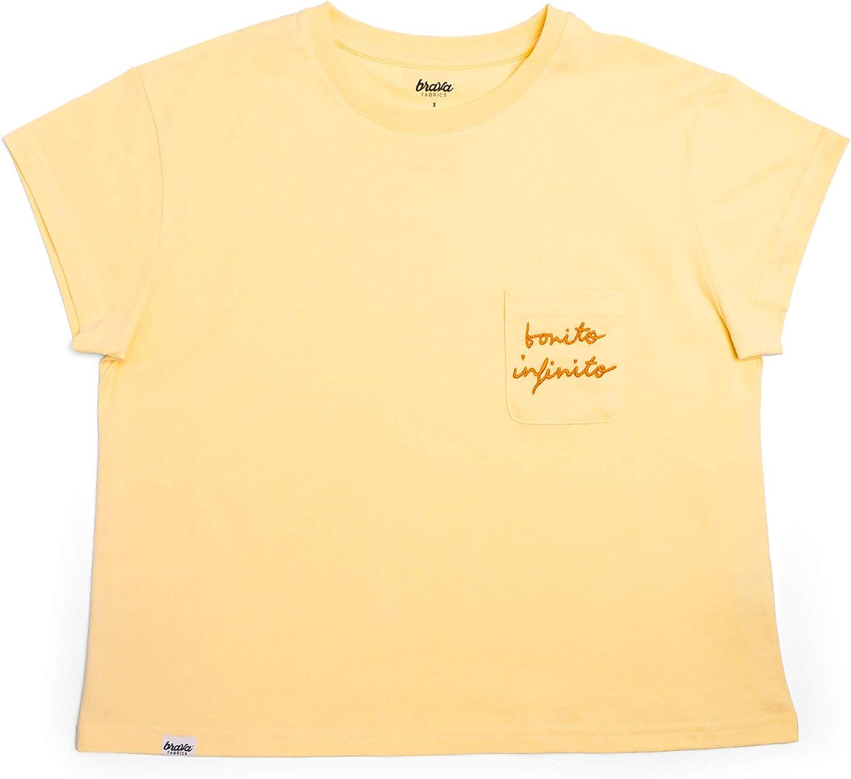 Brava Fabrics | Camiseta Mujer Manga Corta | Camiseta Amarilla Mujer | Camiseta Casual | Camiseta Hipster | 100% Algodón | Camiseta Bonito Infinito: Amazon.es: Ropa y accesorios
