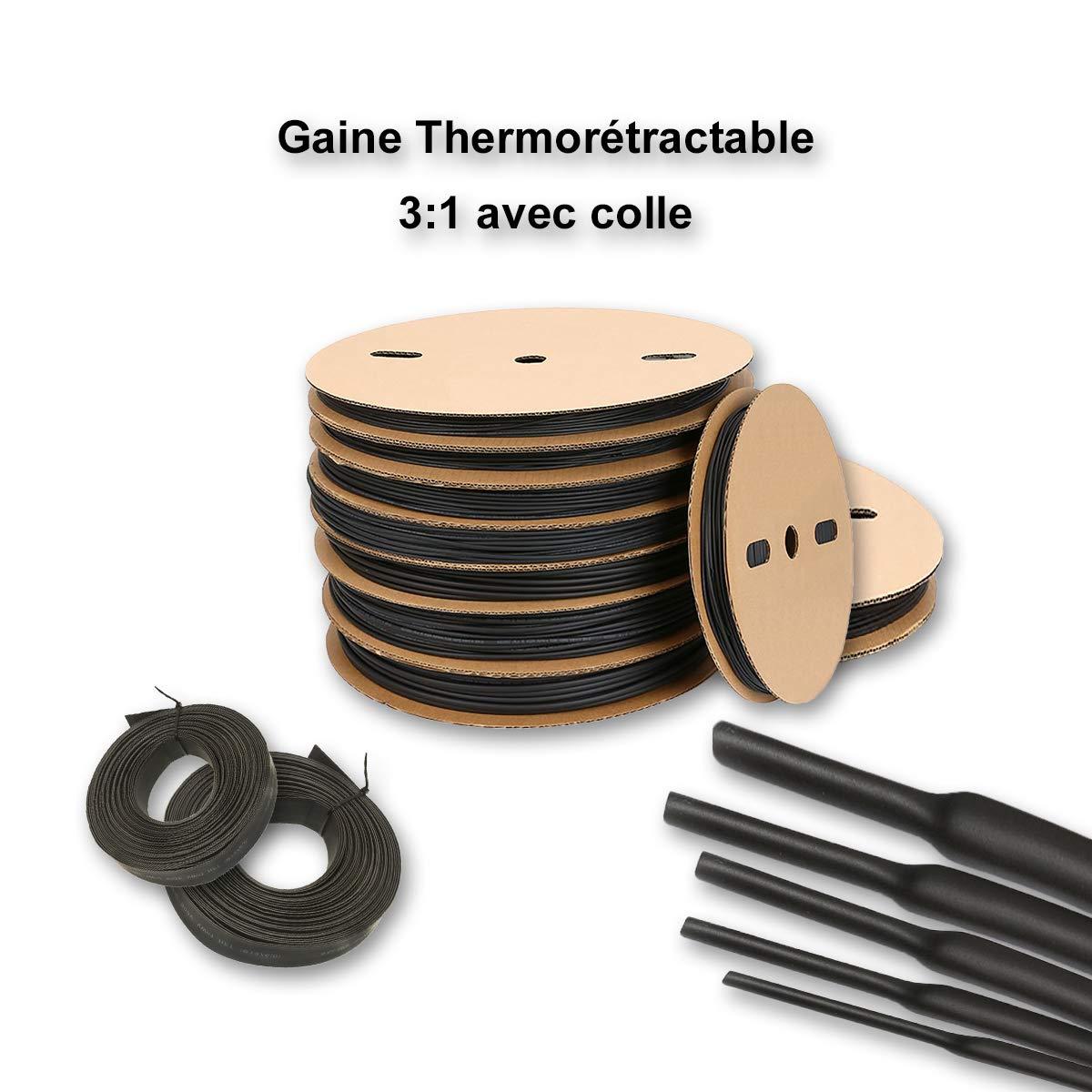 Gaine thermor/étractable 3:1 avec colle - /Ø 2,4MM /à 19,1MM de 0,5m /à 10m /Ø6,4mm, 3 M/ètres
