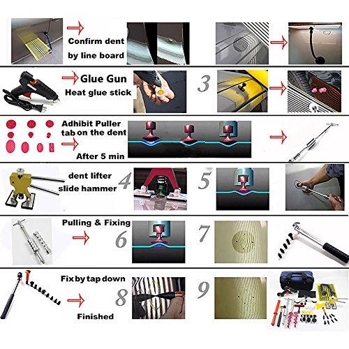 Wcaro 60pcs PDR Tools Paintless Dent Repair Tools Dent Remover Hail Repair Tools Kit Dent Removel Kit PDR Tool Kit Slide Hammer Bridge Puller Glue Dent Puller Tabs Line Board Glue Gun Car Dent Repair by Wcaro (Image #7)'