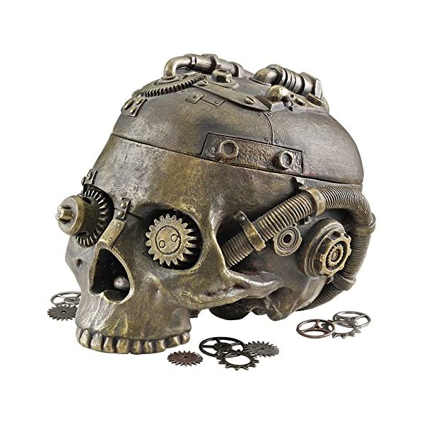 Design Toscano Steampunk Skull Containment Vessel Sculpture 3