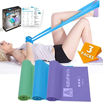 A AZURELIFE Professional Resistance Bands, 3 Different Strengths of Exercise Bands, 5 ft. Long Latex Free Elastic Stretch Bands for Physical Therapy, ...