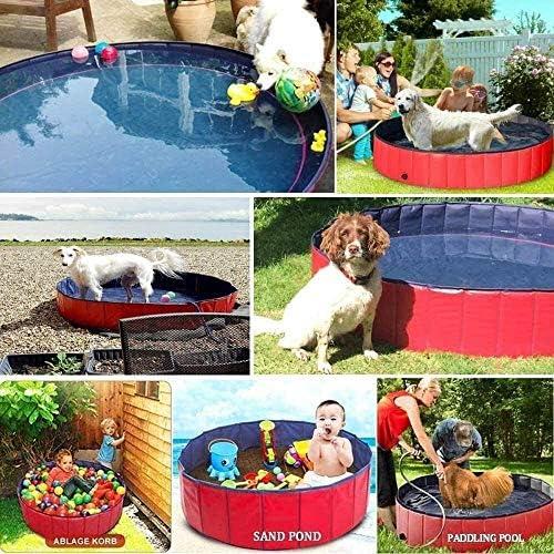 Opvouwbare Portable Extra Large Dog Pet Bath Pool, Zwembad Zwemmen Tub 47inch.D x 12inch.H, Folding PVC Pool Badkuip Kleine Washer Kiddie Zwembaden ZHNGHENG