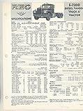 1964 Tandem E730D Tractor Diesel Truck Specifications Brochure
