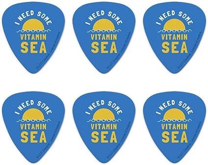 Set of 6 I Need Some Vitamin Sea Beach Funny Humor Novelty Guitar Picks Medium