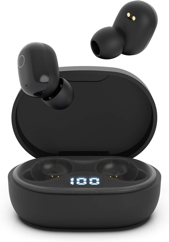 Auriculares Inalambricos, QueenDer Auriculares Bluetooth Deep Bass Estéreo Mini Twins In Ear con Micrófono Cancelación de Ruido, Type C, Pantalla LED Cascos Auriculares para iOS Android(Negro)