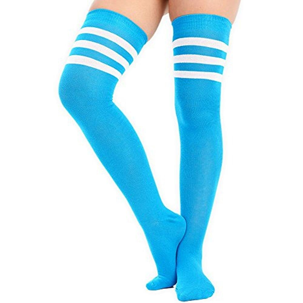 Womens Girls Over The Knee High Socks with 3 Stripes in 12 Colours UK 4-6 620977700767