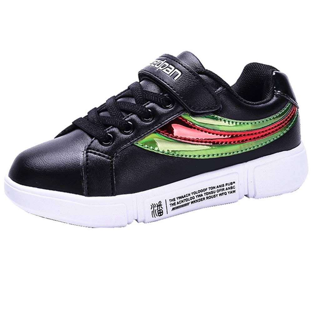 LGXH Waterproof Kids Youth Skateboarding Shoes Multicolor Cozy Boys Girls Slip On Skate Bowling-Shoes Black Size 1 M US Little Kid