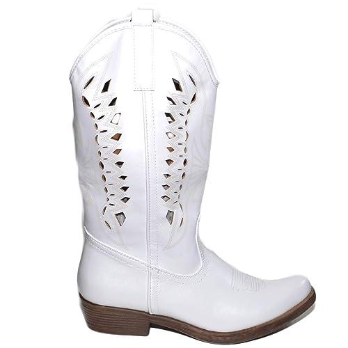 Camperos Bianco Con Donna Foratura Texani Stile Stivali Western nOPN80wkX