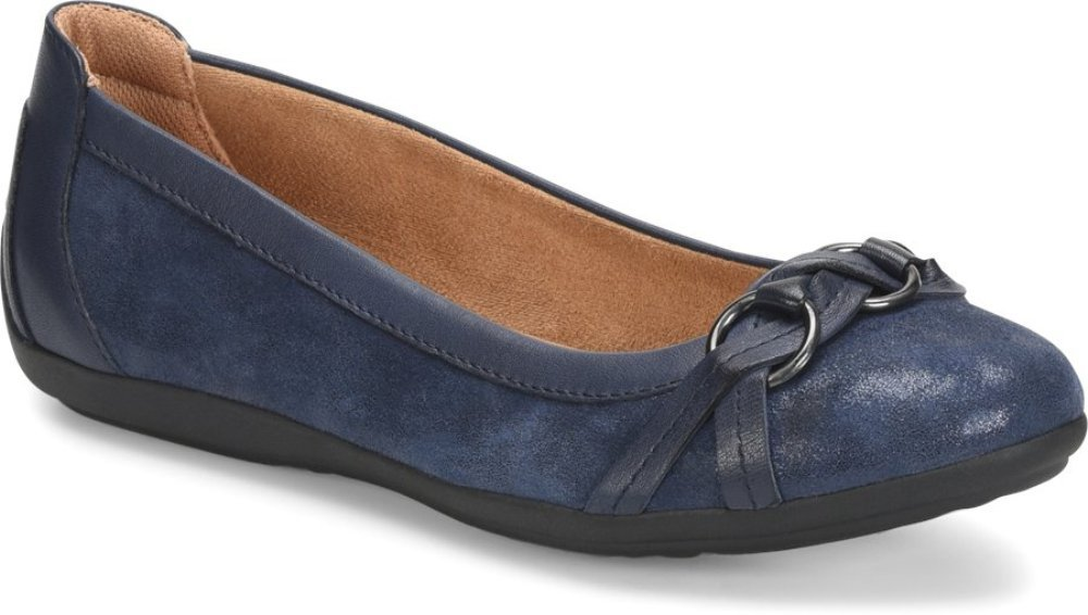 Comfortiva Women's, Maloree Slip on Flats B07C9HMZB2 7 W US|Midnight Navy Distressed Foil Suede