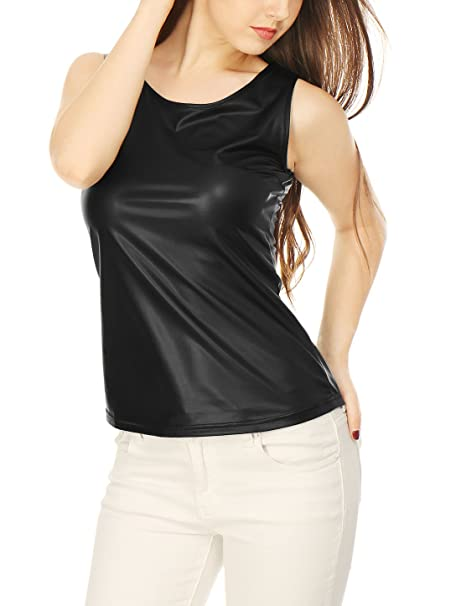 21f7e24a720aa Allegra K Women s U Neck Stretchy Slim Fit Metallic Tank Top Black XS (US 2