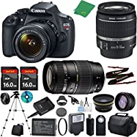 Canon T5 Camera with 18-55mm IS + Tamron 70-300mm AF Lens + 2pcs 16GB Memory + Case + Card Reader + Tripod + ZeeTech Starter Set + Wide Angle + Telephoto + Flash + Filter