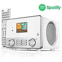 """Hama IR111MS Internetradio (Spotify, WLAN/LAN, USB, Multiroom, 30 Favoritenplätze, Wifi-Streaming, beleuchtetes 2.6"""" Farbdisplay, integr. Radio-Wecker, mit Fernbedienung, gratis UNDOK Radio-App) weiß"""