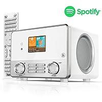 """Hama Internetradio IR111MS (Spotify, WLAN/LAN, 2.6"""" TFT-Farbdisplay, USB-Wiedergabe, Wifi-Streaming, 2 Weckzeiten, Multiroom, Fernbedienung, gratis UNDOK Radio App) weiß"""