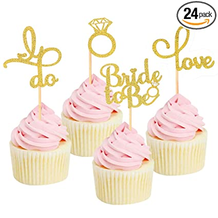 engagement wedding cupcake toppers gold glitter food picks 12 pack