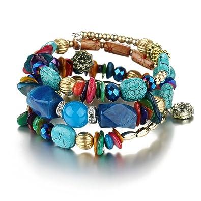 0b7dbeda2a212 ISAACSONG.DESIGN Crystal Beaded Wrap Bangle Bracelets for Women, Bohemian  Multilayer Stone Stackable Strand Charm Bracelets – Summer/Yoga/Beach
