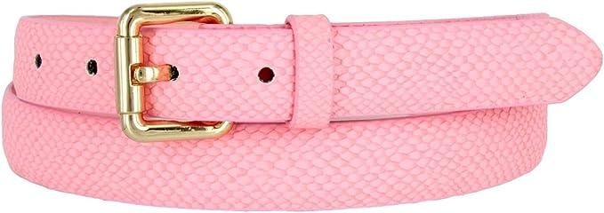 Ladies Waist Elastic Pink Belt W// Rhinestones /&2 Metal Snakes Buckle Size S M L