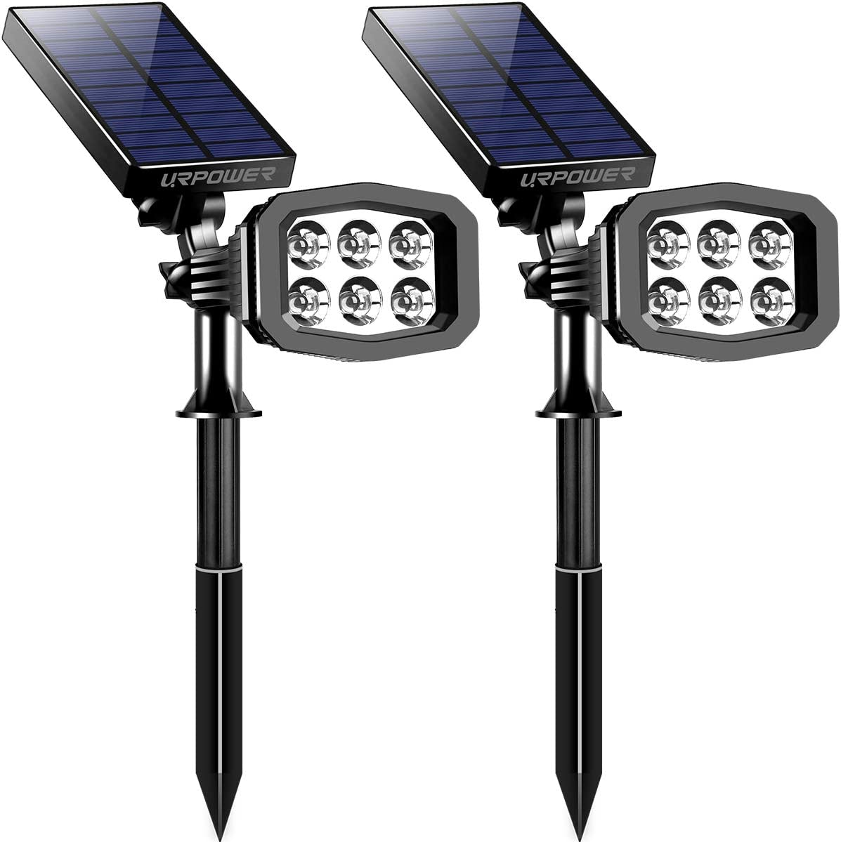 URPOWER Solar Lights Outdoor, Upgraded 6 LED 2-in-1 Waterproof Solar Spotlights 2 Modes Auto On Off Wireless Wall Lights Pathway Lights Landscape Lighting for Garden Yard Pool Patio Cold White 2 Pack