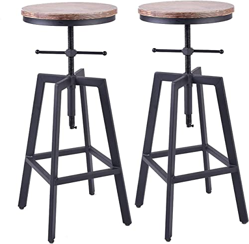 Diwhy Industrial Bar Stools,Kitchen Dining Chair,Wood Metal Bar Stool,Adjustable Height Swivel Counter Height Bar Chair,Fully Welded Set of 2 Style 7