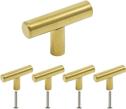 50mm Overall Length Modern Kitchen Cupboard Door Handles Brushed Brass Single 20