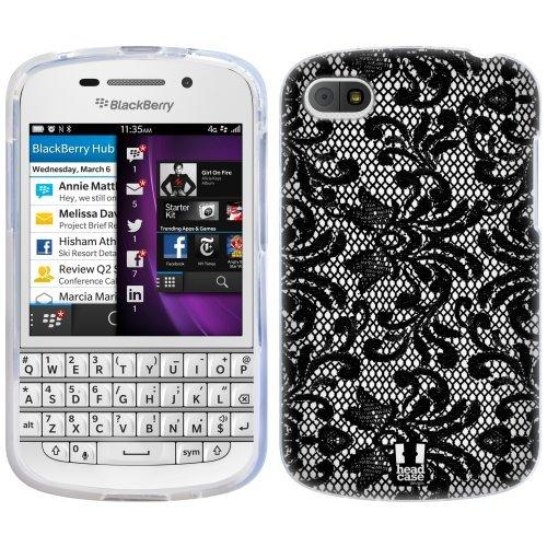 Head Case Designs Damask Black Lace Soft Gel Back Case Cover for BlackBerry Q10