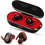 PZX Bluetooth イヤホン 高音質 充電収納ボックス 片耳 両耳とも ワンボタン設計 ハンズフリー通話 ワイヤレス イヤホン iPhone Android対応 (レッド-)