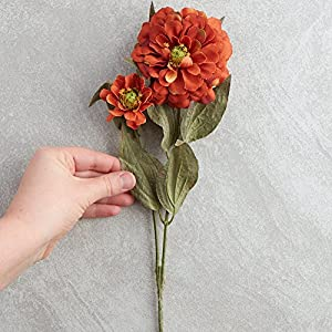Factory Direct Craft Group of 10 Artificial Rustic Orange Colored Zinnia Floral Sprays for Crafting, Creating and Embellishing 2