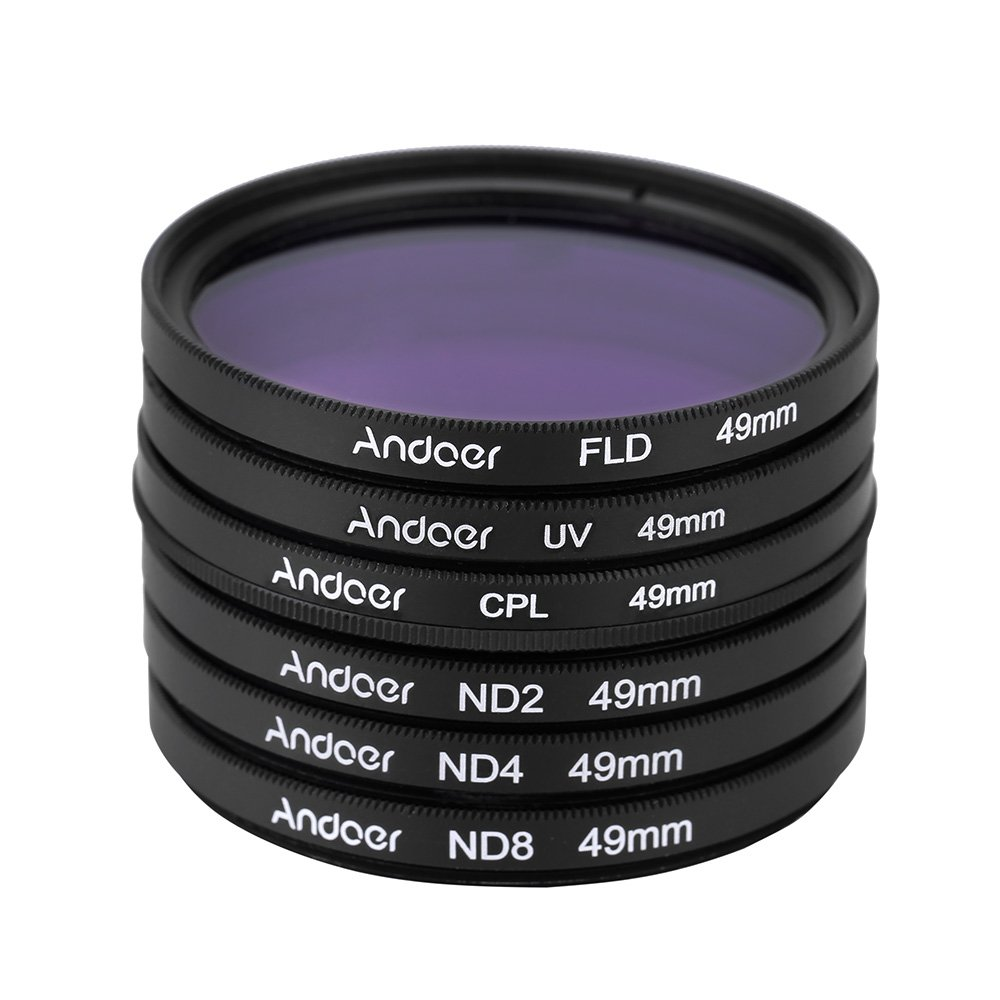 Andoer 62mm UV FLD CPL ND2 ND4 ND8 ND Photography Filter Kit Set Ultraviolet Circular-Polarizing Fluorescent Neutral Density Filter for Nikon Canon Sony Pentax DSLRs