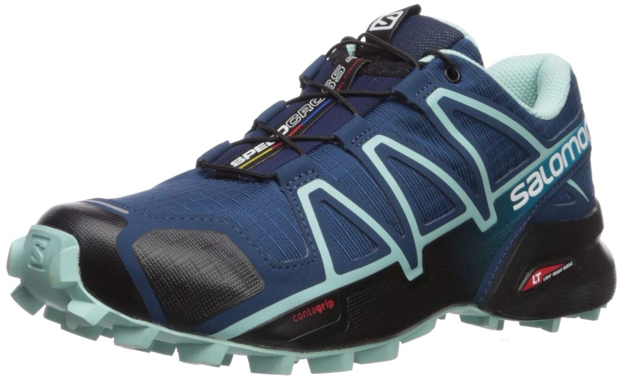 SALOMON Women's Speedcross 4 Wide W Trail Running Shoe, Poseidon/Eggshell Blue/Black, 6 US by SALOMON