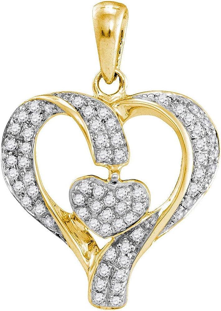10k Yellow Gold Diamond Heart Love Pendant 1//6 ct