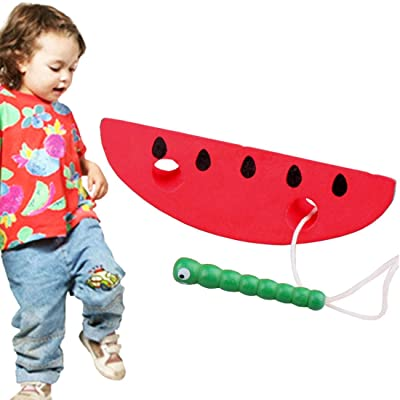 YiShi-US Toy Wooden Toys Threading Caterpillars Eat Pear Novelty Funny Educational Wood Toys (Color : Color3): Home Improvement