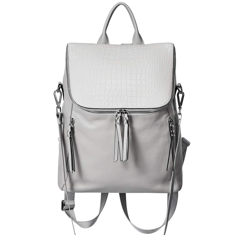 Genuine Leather Women Backpack Purse Fashion Large Designer Travel Ladies Shoulder Bag with Crocodile Flap Gray