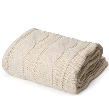 Battilo BTL15032-CREAM Knitted Throw