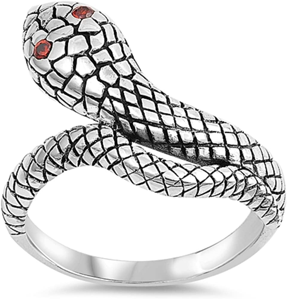 CloseoutWarehouse Simulated Garnet Cubic Zirconia Wraparound Snake Ring Sterling Silver