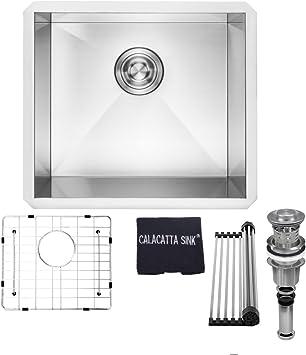 SUS304 Stainless Steel Handmade Single Bowl with Sink Strainer Brushed 20 X 16 Inch Undermount Kitchen Sink