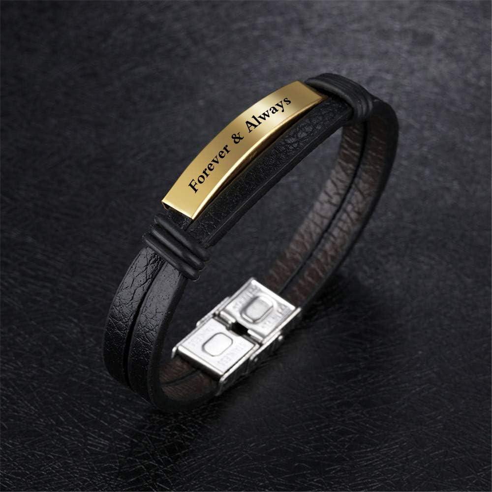 Personalized Mens Black Leather Bracelets 7.6 Inches ID Tag Bracelets Customized for Men Women Dad Bracelets Wristband Bangle