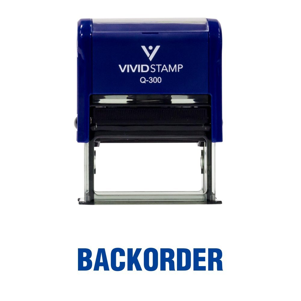 Medium Pacific Stamp and Sign Blue Ink BackOrder Self Inking Rubber Stamp