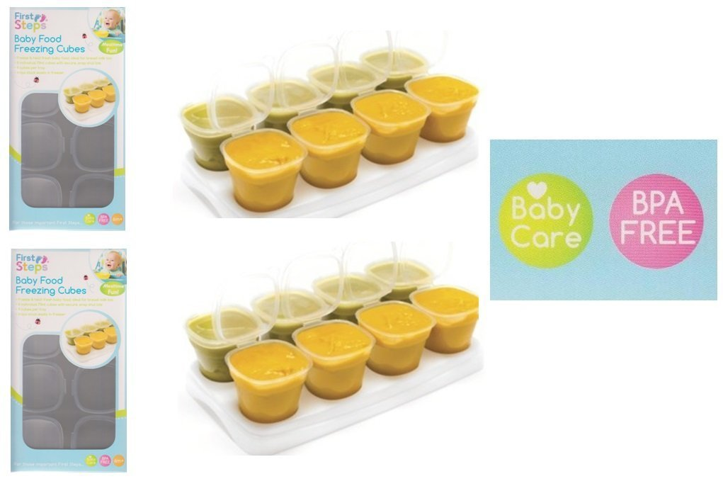 2 x Pack Of 8 Plastic Baby Food Container Freezer Freezing Cubes BPA Free With Tray ARSUK