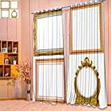 SeptSonne Embossed Thermal Weaved Grommet Blackout Curtains wood picture frame isolated on a white background Blocks up to 80% of Sunlight-Premium Draperies(W104'' x L84'' Pair)